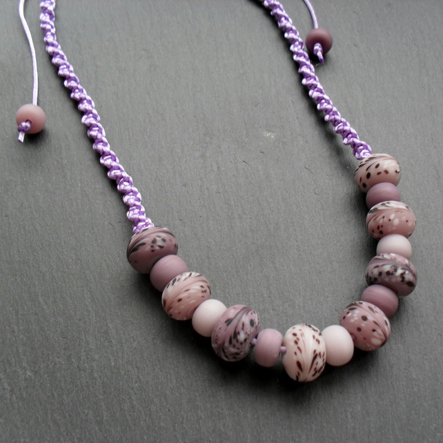 Macram'e Knotted NecklaceWith Glass Beads Mauve and Lilac Non Metal