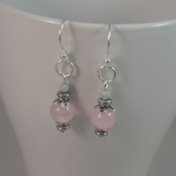 Quartzite, Haematite and Czech Glass Silver Plated Earrings