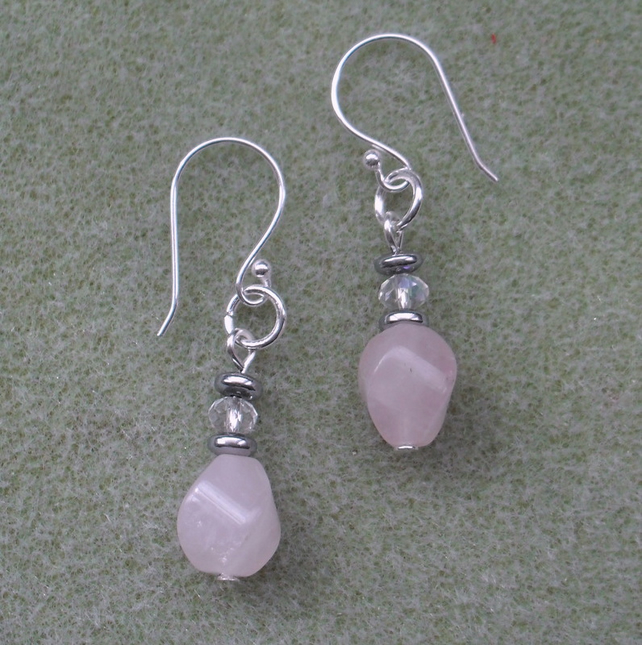 Rose Quartz and Haematite Earrings Silver Plate