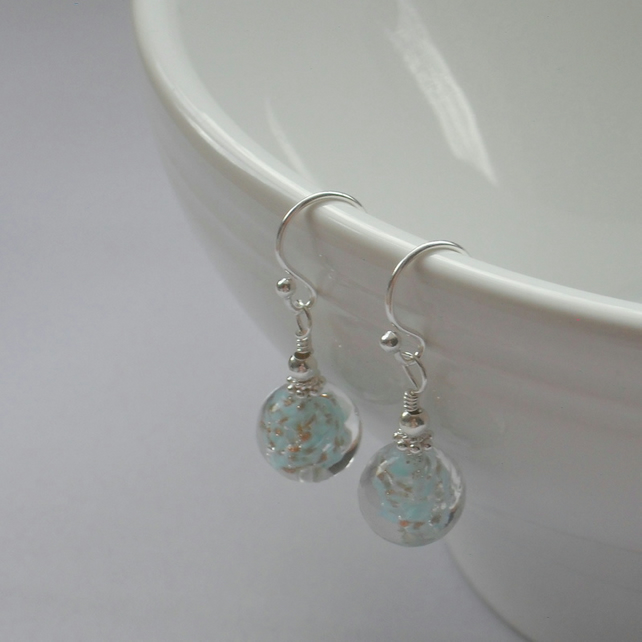 Sterling Silver Venetian Murano Blue Glass With Aventurina