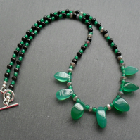 Green Onyx, Labradorite and Agate Necklace