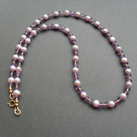 Lilac Pearls and Amethyst Necklace