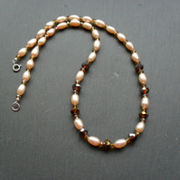 Cultured Peach Pearl and Crystal Necklace