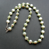 Green Freshwater Pearls and Peridot Necklace August Birthstone Pearl Necklace