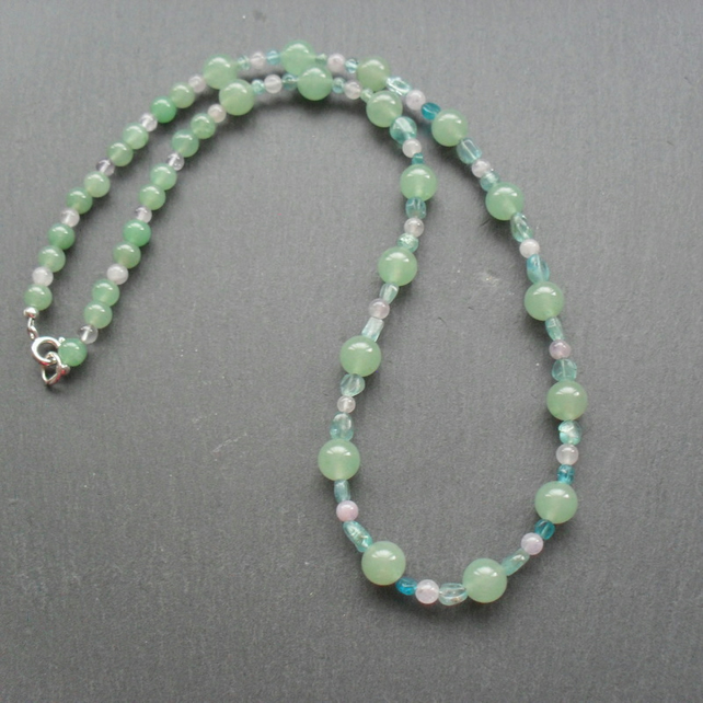 Green Aventurine and Lilac Amethyst Necklace