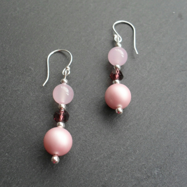 Shell Pearl and Quartzite Semi Precious Gemstone Earrings