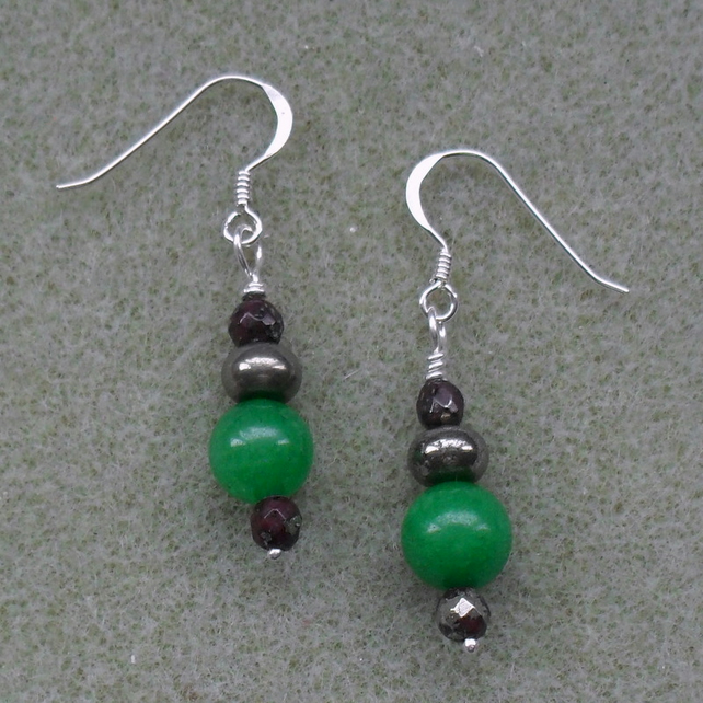 Green Quartzite Pyrite and marcasite Sterling Silver Earrings