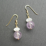 Amethyst and Quartz Gold vermeil Earrings
