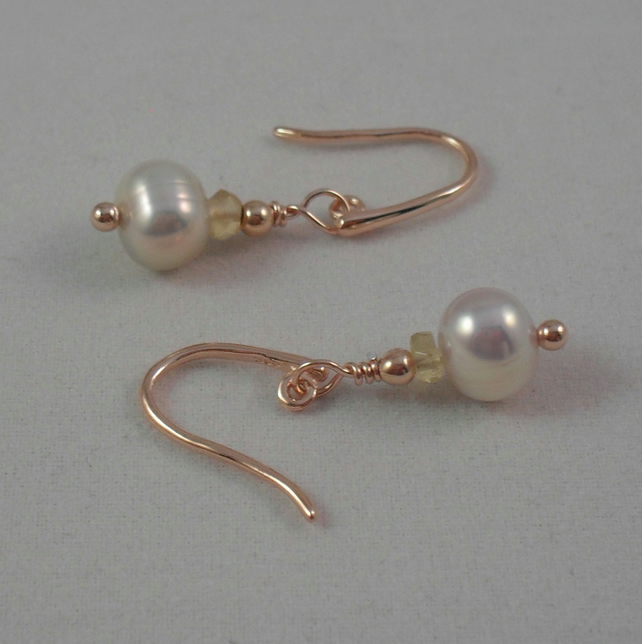 Dainty Freshwater Coultured Pearl and Citrine Rose Gold Sterling Silver Earrings
