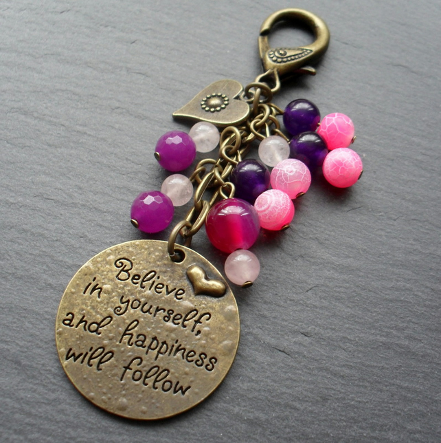 Believe Bag Charm Bronze Tone