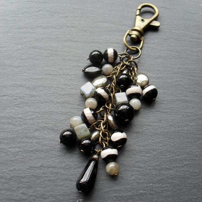 Labradorite, Pyrite, and Onyx Bag Charm