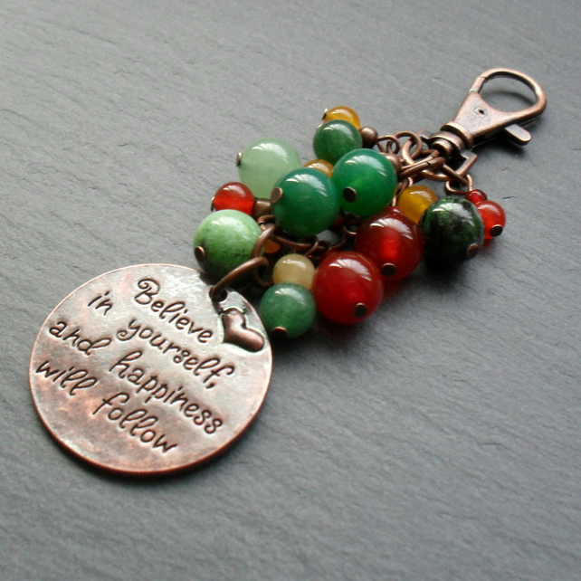 Believe In Yourself Bag Charm Antique Copper Tone