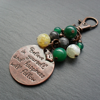 Believe Bag Charm Antique Copper Tone