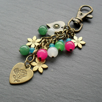 Heart and Flower Bag Charm Bronze Tone