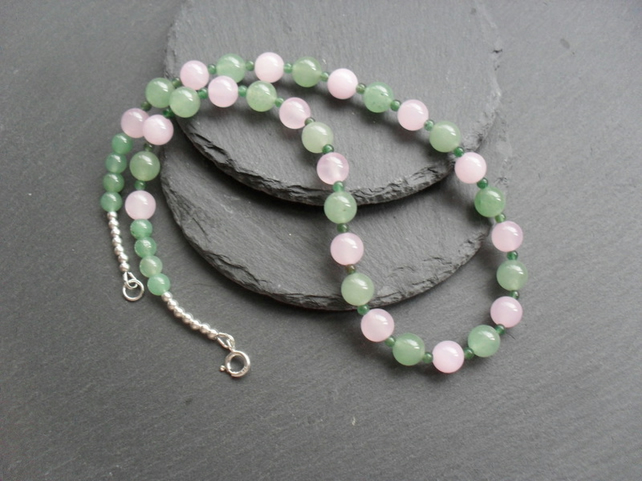 Sterling Silver Aventurine and Quartzite Gemstone Necklace