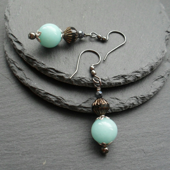 Aqua Quartzite and Czech Glass Beaded Earrings