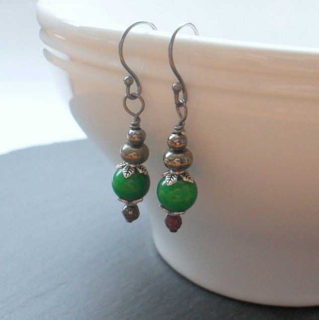 Green Quartzite Pyrite and Marcasite Drop Earrings