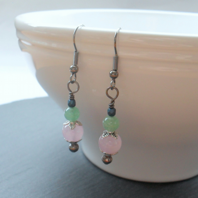 Green Aventurine Pink Quartzite and Czech Glass Drop Earrings