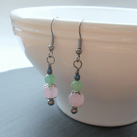 SALE Green Aventurine Pink Quartzite and Czech Glass Drop Earrings
