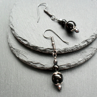 Black Onyx and czech Glass Drop Earrings Gunmetal Grey Tone