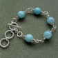 Aqua Quartzite Silver Plated Bracelet Wire Wrapped