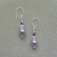 Lilac Shell Pearl and Glass Bead Earrings Silver Plate