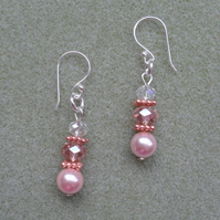 Pink Shell Pearl and Crystal Earrings