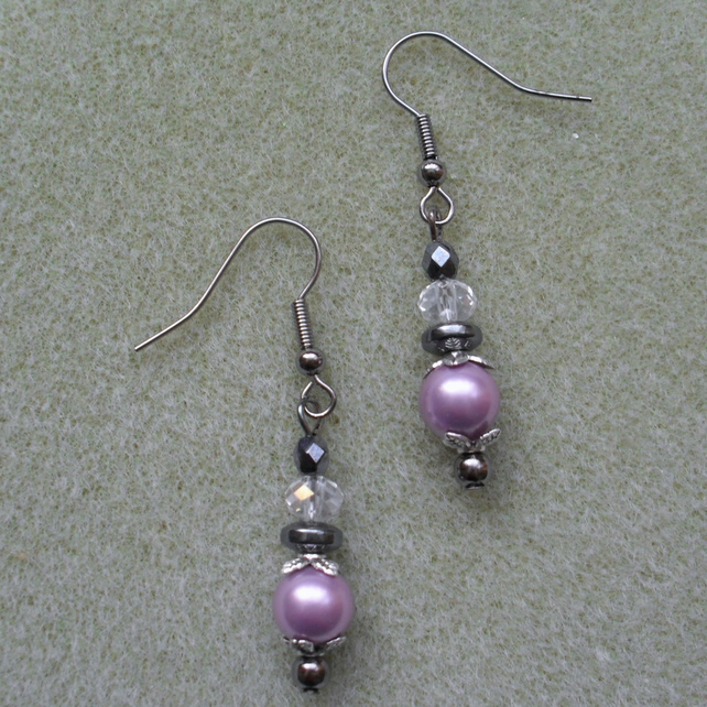 Lilac Shell Pearl, Haematite and glass bead Gunmetal Earrings