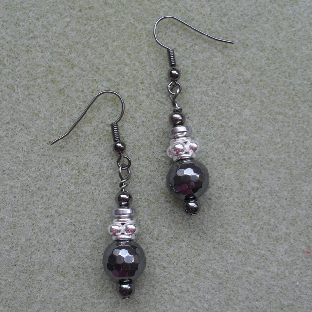 Haematite Drop Earrings Gunmetal Grey
