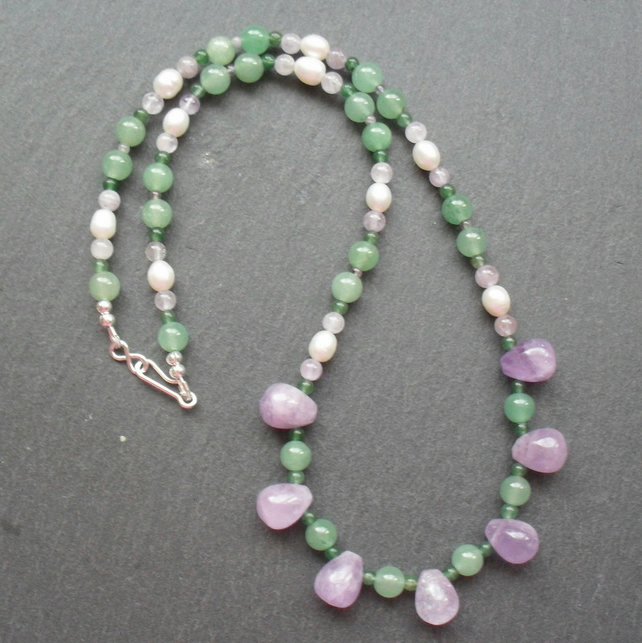 Amethyst, Aventurine and Cultured Pearl Sterling Silver Necklace
