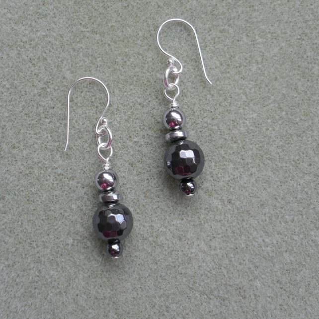 Silver Plated Haematite Drop Earrings