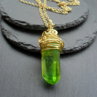 Green Quartz Drop Style Pendant Wire Wrapped