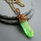 Green Quartz Drop Pendant Bronze Tone Wire Wrapped