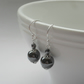 Haematite and czech Glass Silver Plated Earrings
