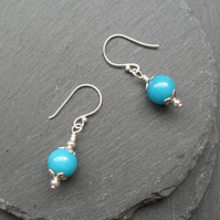 Blue Quartzite Drop Earrings Silver Plate