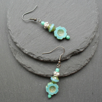 Turquoise Czech Glass drop Earrings Gunmetal Tone