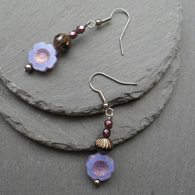 Lilac Czech Glass Flower Drop Earrings Gunmetal Tone Vintage
