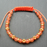 Orange Quartzite Semi Precious Gemstone Macrame Style Bracelet