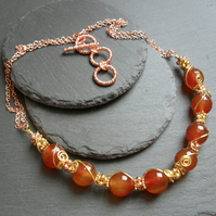 Orange Agate Wire Wrapped Necklace Gold and Rose Gold Plated