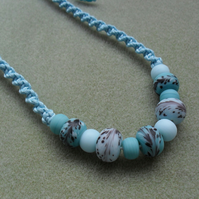 Blue Glass Bead Macrame Necklace Non Metal