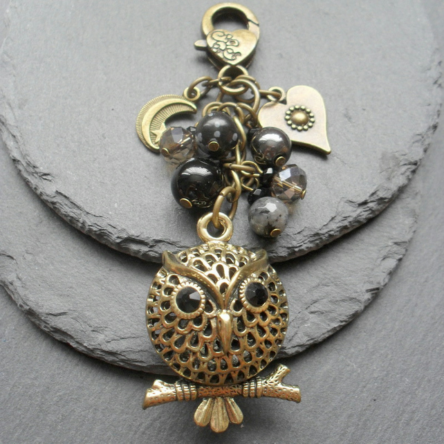 Bronze Tone Owl Bag Charm with Semi Precious Gemstones and crystals