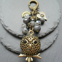 3D Bronze Tone Owl With Semi Precious Gemstone Bag Charm