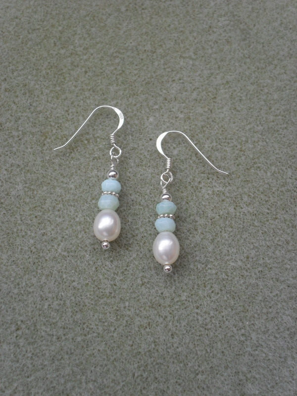 Sterling Silver Opal and Freshwater Pearl Earrings