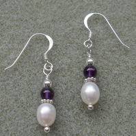African Amethyst Freshwater Pearl Sterling Silver Earrings February Birthstone