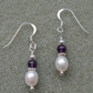 African Amethyst and Freshwater Pearl Sterling Silver Earrings