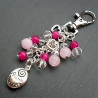 Follow Your Heart Bag Charm Pink and Silver Tone