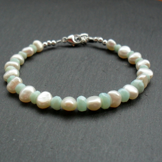 Freshwater Pearl and Blue Opal Sterling Silver Bracelet