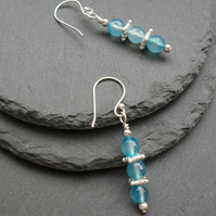 Blue Agate Drop Earrings Silver Plate