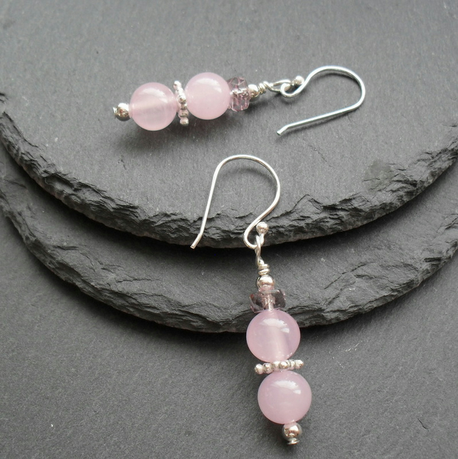 Pink Quartzite Drop Earrings Silver Plate