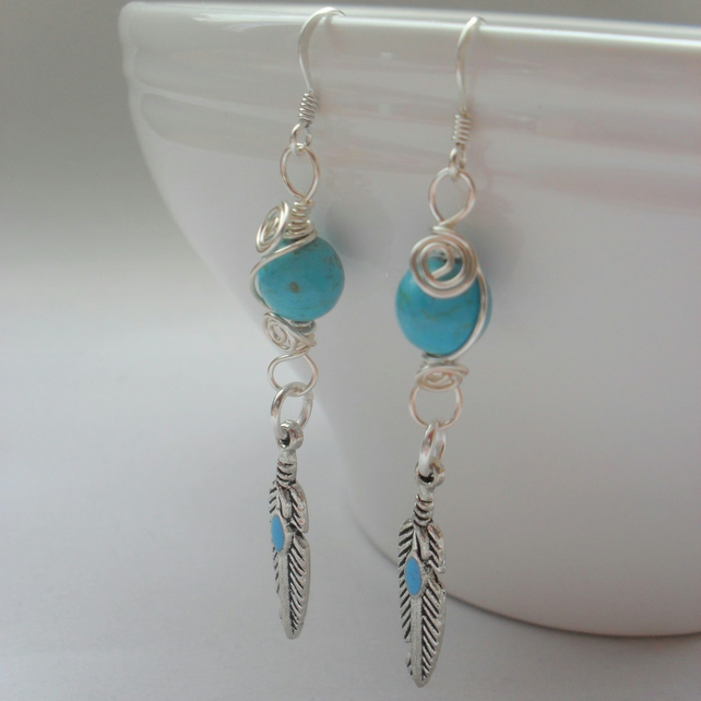 Feather Dangle Earrings With Blue Stone Beads